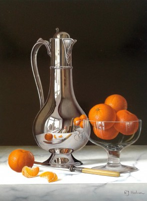 British Artist Roy HODRIEN - Silver Flagon with Bowl of Mandarins